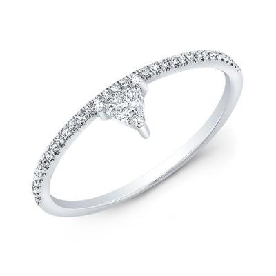 14KT White Gold Trillion Diamond Stacking Ring