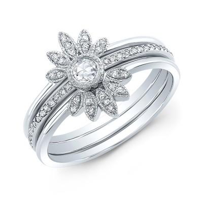 14KT White Gold Diamond Stacking Sunburst Ring