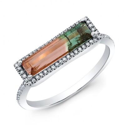 14KT White Gold Watermelon Tourmaline Diamond Ring