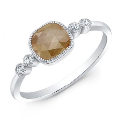 14KT White Gold Fancy Color Diamond Ring