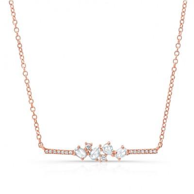 14KT Rose Gold Rose Cut Diamond Bar Necklace
