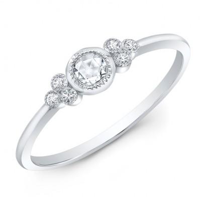 14KT White Gold Rose Cut Trinity Diamond Ring