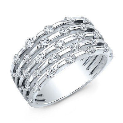 18KT White Gold Alternating Floating Diamonds Band