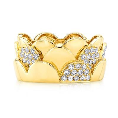 18KT Yellow Gold Diamond Scalloped Ring