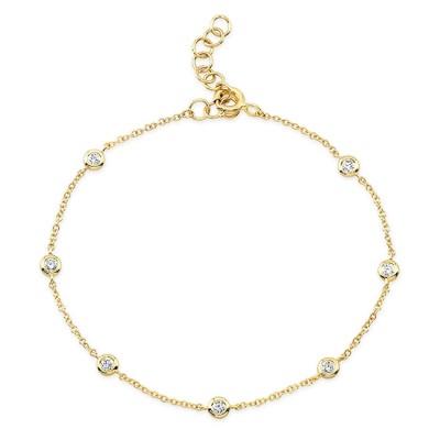 14KT Yellow Gold Diamond Bezels Bracelet