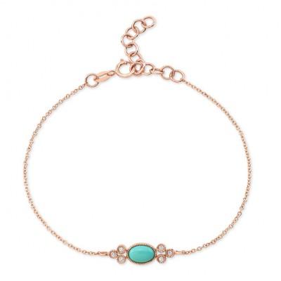 14KT Rose Gold Turquoise and Diamond Bracelet