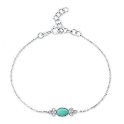 14KT White Gold Turquoise and Diamond Bracelet
