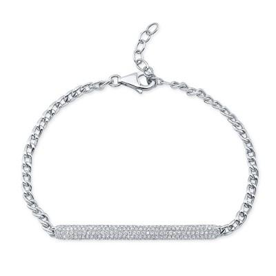 14KT White Gold Diamond Bar Link Bracelet