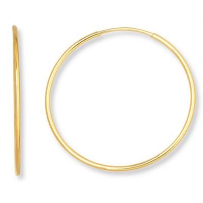 14KT Yellow Gold Endless Lightweight Hoops 45 mm