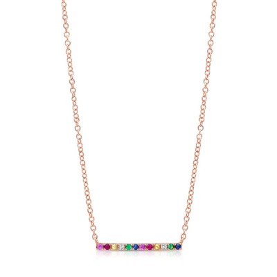 14KT Rose Gold Multi-Color Gemstones and Diamonds Bar Necklace