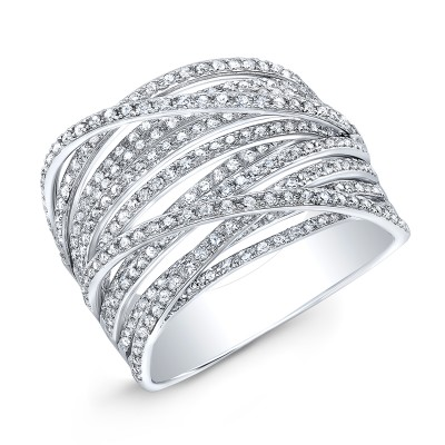 14KT White Gold Diamond Layered Ring