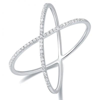14KT White Gold Diamond Criss-Cross Ring