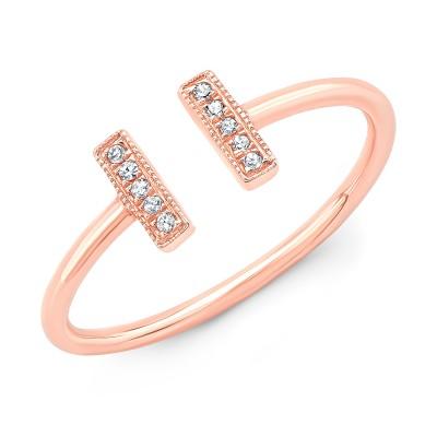 14KT Rose Gold Diamond Parallel Bar Ring
