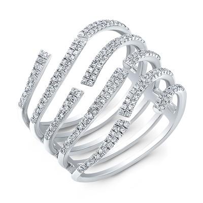 14KT White Gold Diamond Wavy Ring