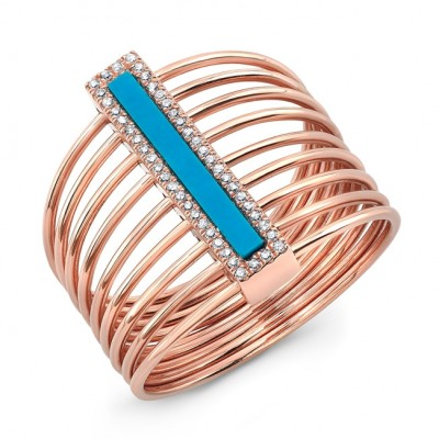 14KT Rose Gold Vertical Bar Turquoise Diamond Ring