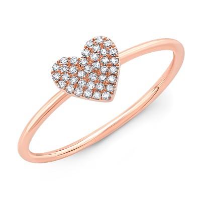14KT Rose Gold Diamond Heart Ring