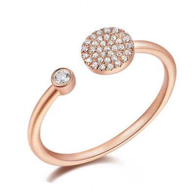 14KT Rose Gold Diamond Disc and Bezel Ring