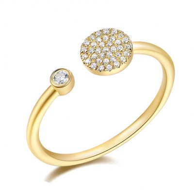 14KT Yellow Gold Diamond Disc and Bezel Ring