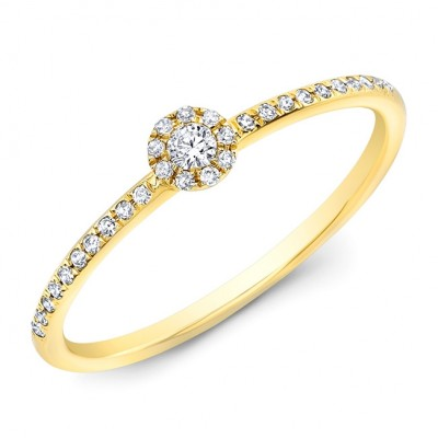 14KT Yellow Gold Petite Round Diamond Halo Stacking Ring