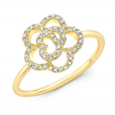 14KT Yellow Gold Diamond Camellia Flower Ring