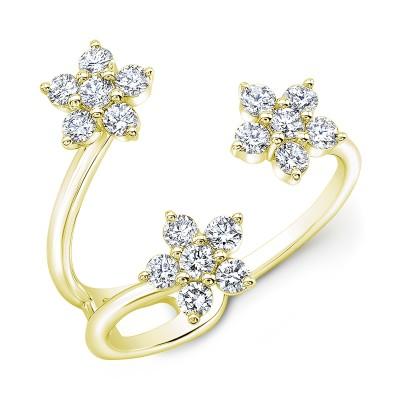 14KT Yellow Gold 3 Flowers Diamond Ring