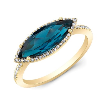 14KT Yellow Gold Blue Topaz with Diamond Halo Ring