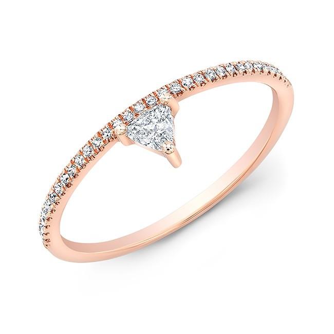 14KT Rose Gold Trillion Diamond Stacking Ring
