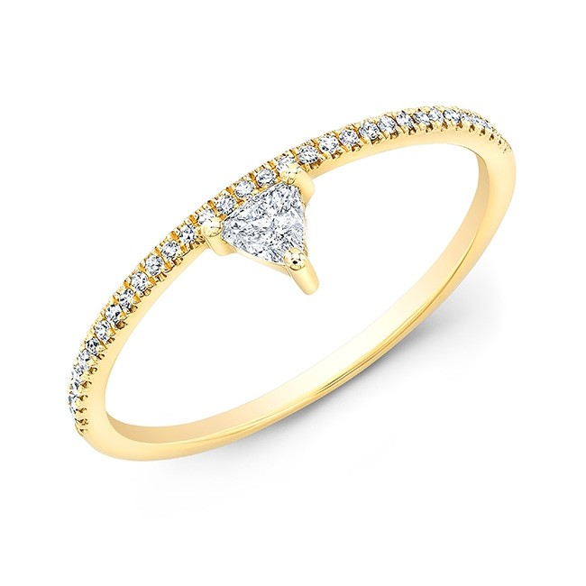 14KT Yellow Gold Trillion Diamond Stacking Ring