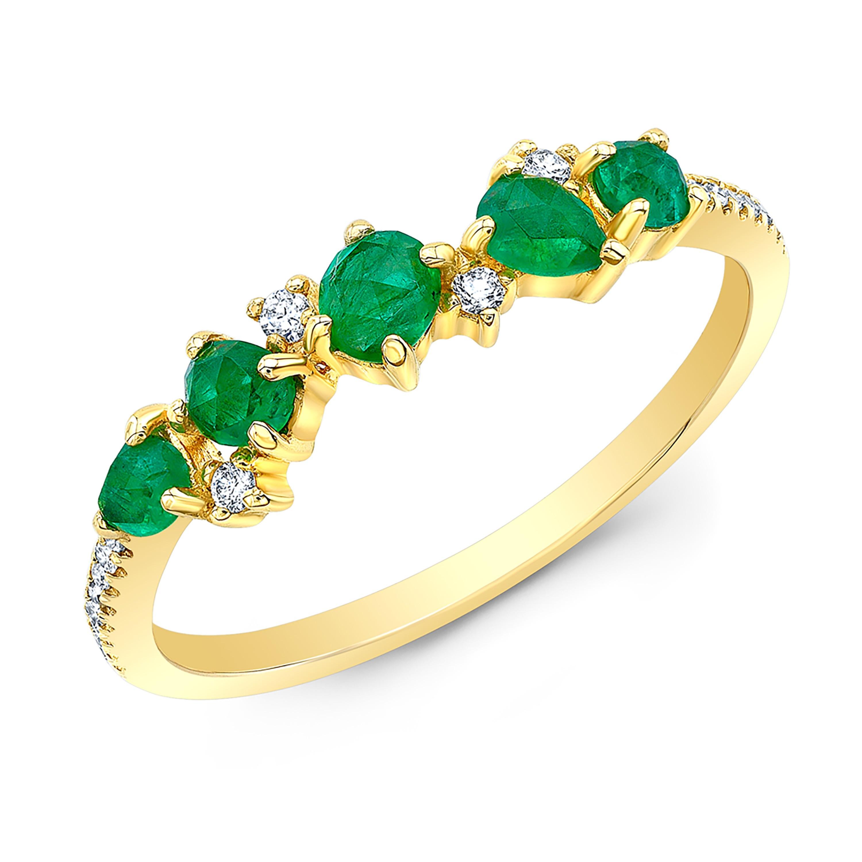 14KT Yellow Gold Organic Emerald and Diamond Band