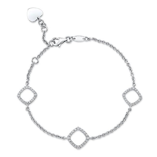 18KT White Gold Diamond Cushions Bracelet