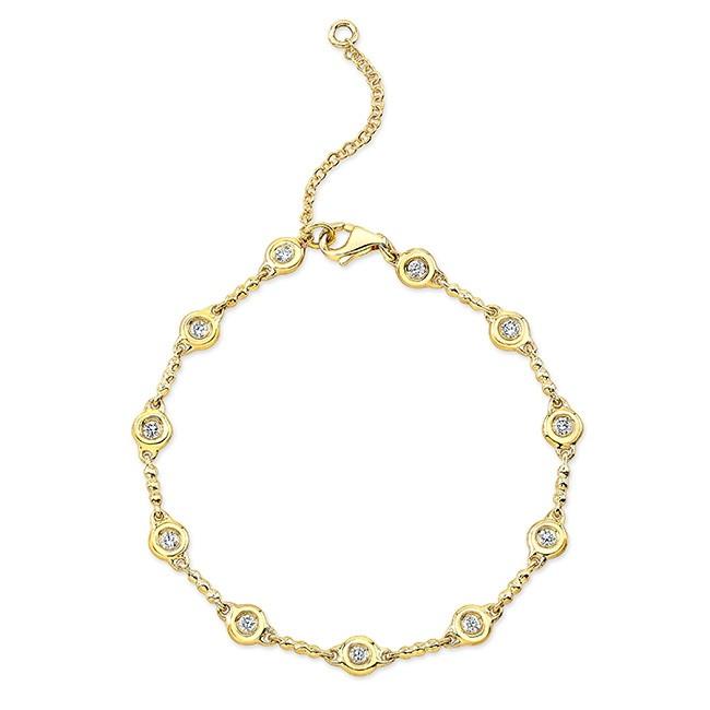 18KT Yellow Gold Diamond Bezel Bracelet