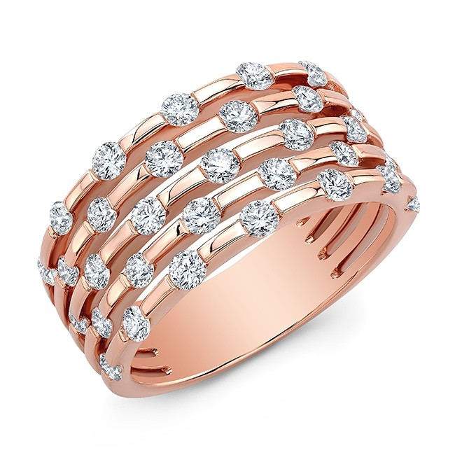 18KT Rose Gold Alternating Floating Diamonds Band