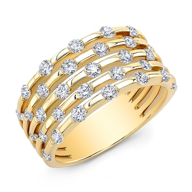 18KT Yellow Gold Alternating Floating Diamonds Band