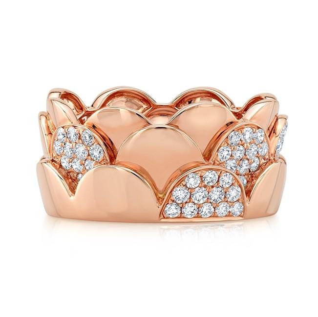 18KT Rose Gold Diamond Scalloped Ring