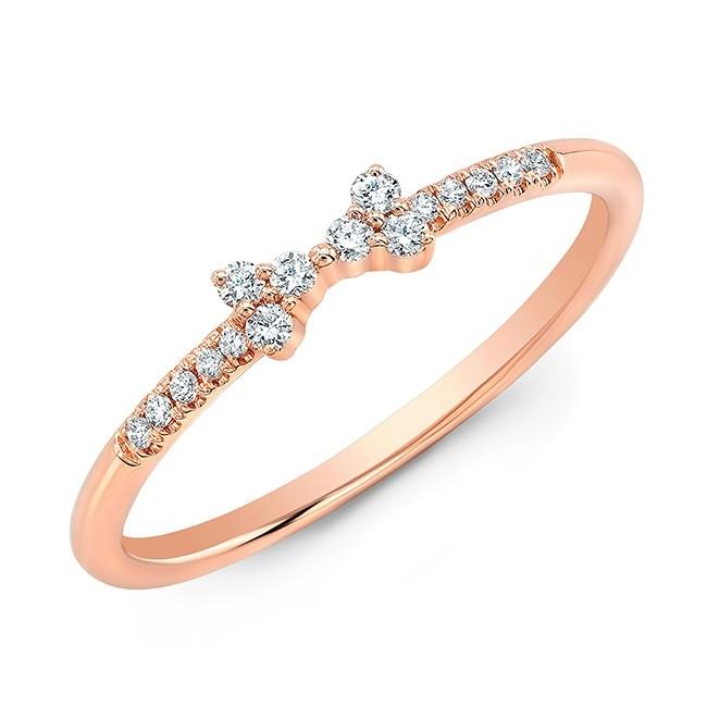 14KT Rose Gold Diamond Bow Ring