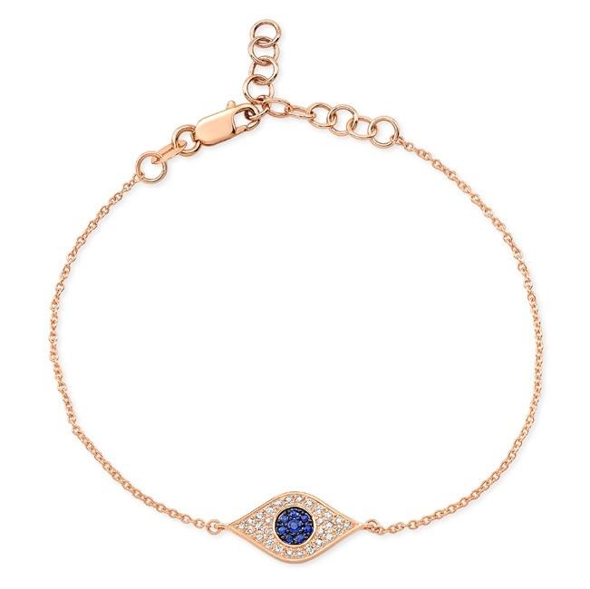 14K Rose Gold Evil Eye Bracelet