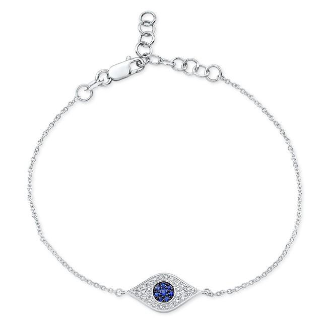 14k White Gold Evil Eye Bracelet
