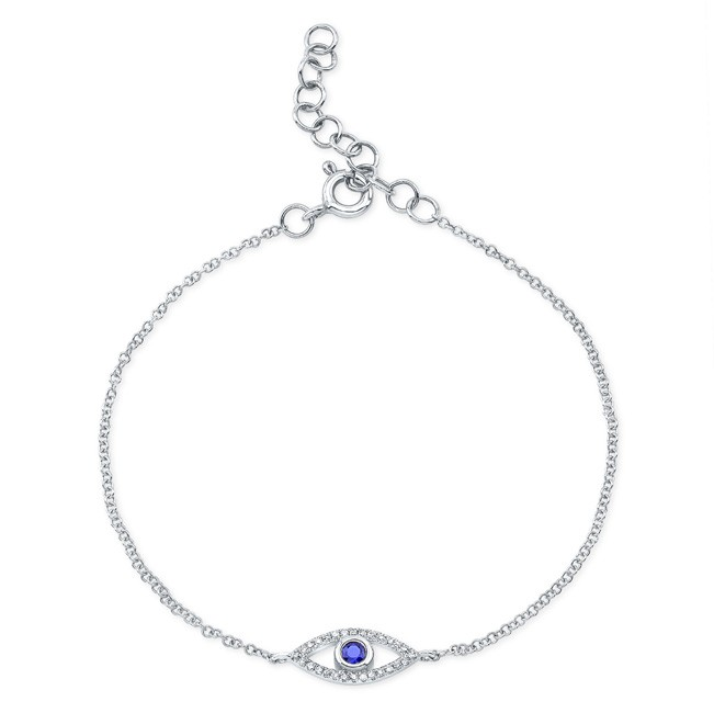14KT White Gold Sapphire and Diamond Small Evil Eye Bracelet