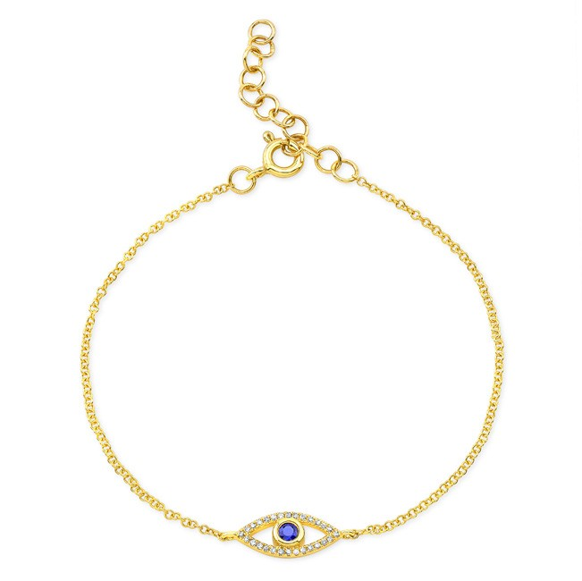 14KT Yellow Gold Sapphire and Diamond Small Evil Eye Bracelet