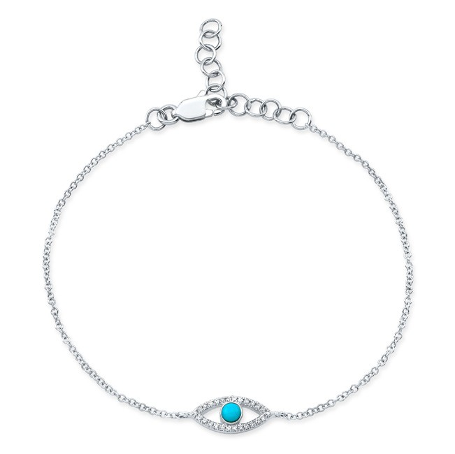 14KT White Gold Turquoise and Diamond Small Evil Eye Bracelet