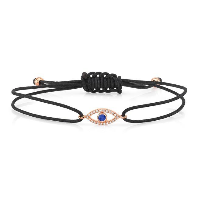 14KT Rose Gold Sapphire and Diamond Small Evil Eye Cord Bracelet