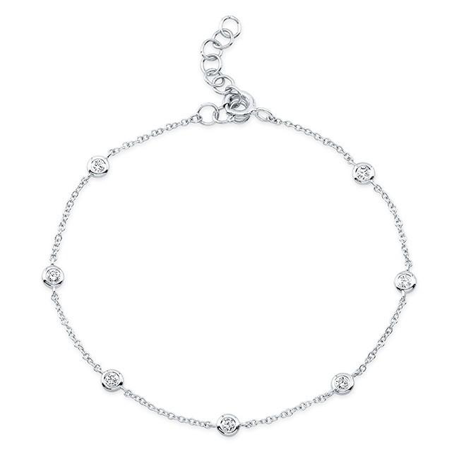 14KT White Gold Diamond Bezels Bracelet