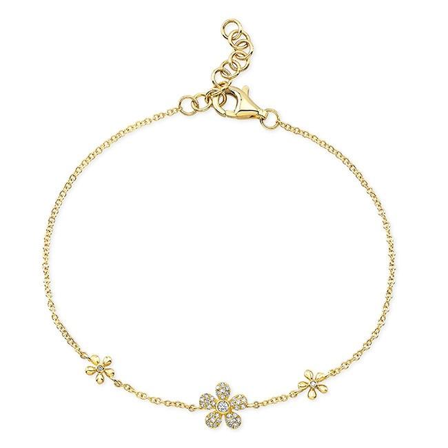 14KT Yellow Gold Diamond Daisy Flower Bracelet