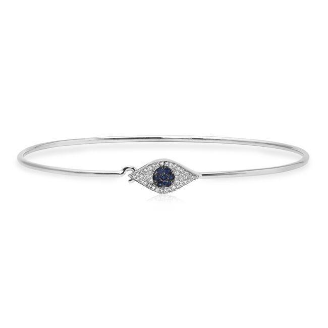 14KT White Gold Diamond and Sapphire Evil Eye Bangle