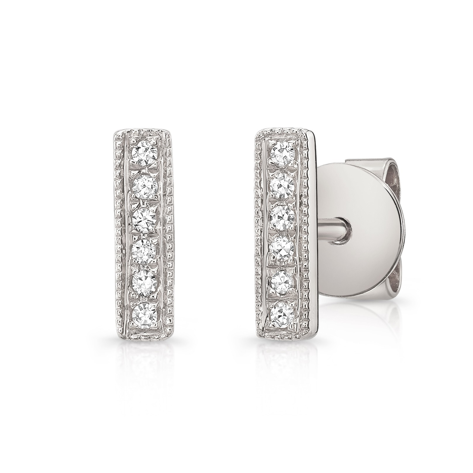 14KT White Gold Diamond Bar Stud Earrings
