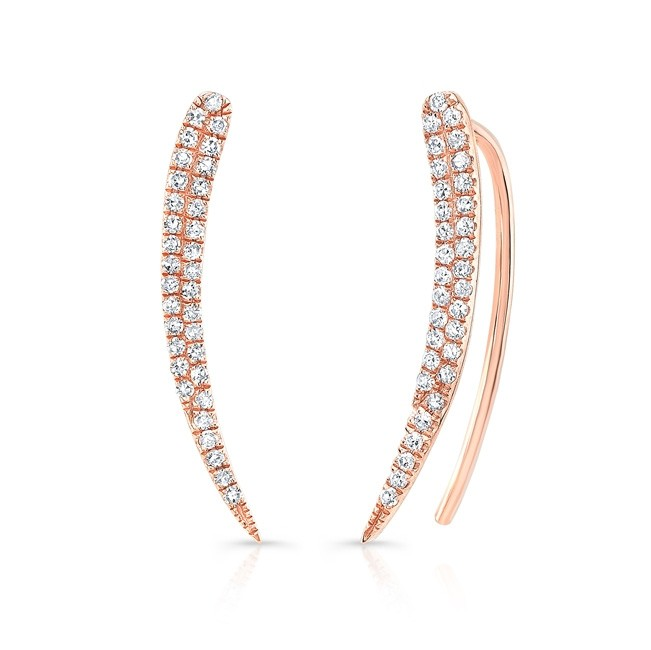 14KT Rose Gold Diamond Crescent Ear Climbers