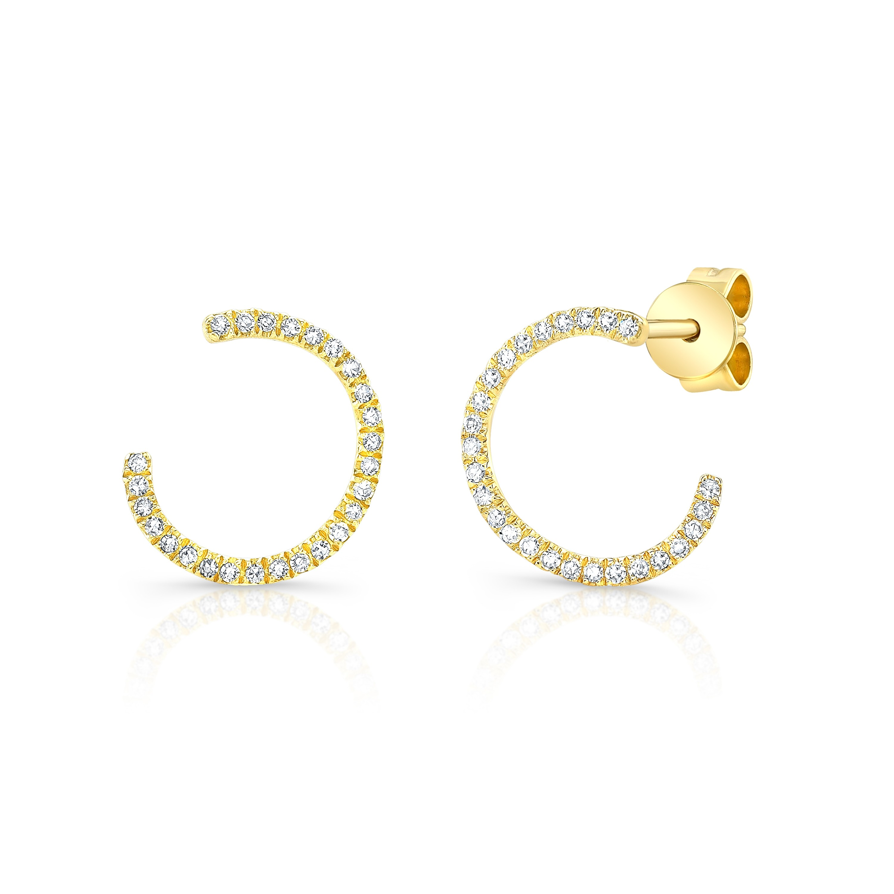 14KT Yellow Gold Diamond Curved Hoop Studs