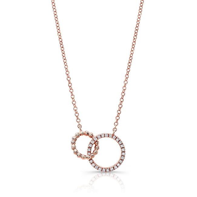 14KT Rose Gold Diamond Interlocking Circle Necklace