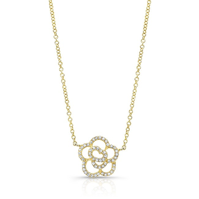 14KT Yellow Gold Gold Diamond Camellia Flower Necklace
