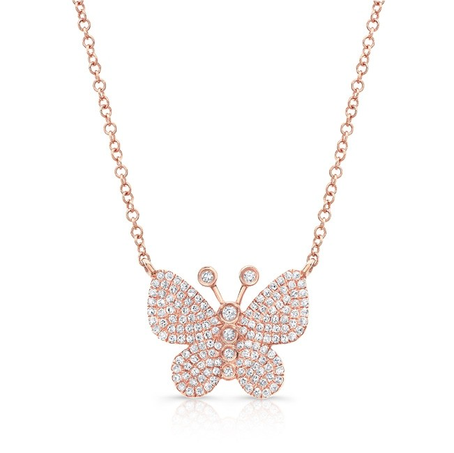 14KT Rose Gold Diamond Butterfly Necklace